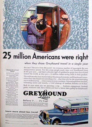 Greyhound Bus ad from 1933